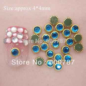 200pcs/lot 4mm Crystal Blue decoration nails art rhinestones