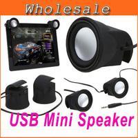 2 Pcs Portable Speaker Black/White USB Mini Speaker for Cellphone MP3 PC Tablet free shipping wholesale #0369