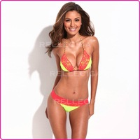 2013 New Fashion Yellow Red Lace Swimsuit Swimwear Bathing Suit Bikini Set For Girl Lady Free Shipping