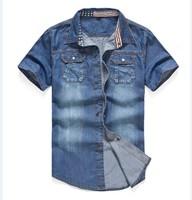 2014 New Short Sleeve Denim Blue Mens Shirts MW18