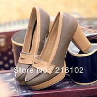 Fashion Size12 Platform Shoes Vintage Women British Style Fashion 2013 Thick Heel Princess  Pu Leather High-heel KFS167