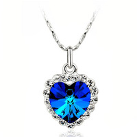 Stock VIII environmental protection zinc alloy Titanic Hot Crystal Colorful hearts Heart of Ocean Necklace HM002