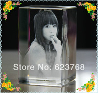 Free Shipping 50x50x80mm Personalized Custom  Laser Photo Crystal Cube Girlfriend Gifts Safest Package with Reasonable Price