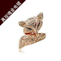 TBC new selling exquisite woman the Czech drilling charm fox ring crystal rose gold ring