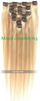 Top quality braizlian virgin hair straight clip in human hair extensions blonde mixed 18/613 queens hair products