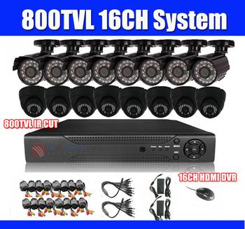 800TVL 16ch DVR Kit CCTV System 16pcs 800TVL IR CUT CCTV Camera 16ch Stand alone HDMI DVR recorder PC&Mobile View Plug And Play