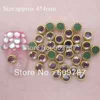 Free Shipping-Purple color 200pcs/lot special shine stone metal rimmed rhinestones Nail Art Decoration