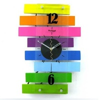 gz049 HOT 1pcs 7 Colour Keys Individuality Creative Cartoon European-style Garden Sitting Room Bedroom Mute Wall Clock