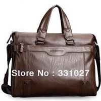 Hot sale fashion  soft leather briefcase leather laptop bags for  men's big size shoulder bags  business briefcase Black/Brown