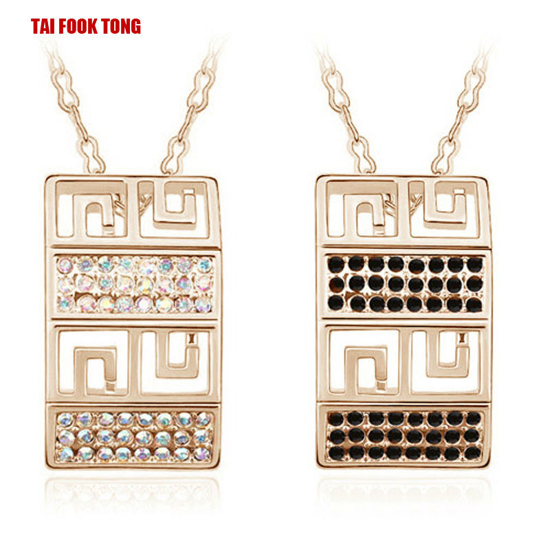 Square18K Gold Plated Synthetic Diamond Casual Trendy Necklace Women Pendant Nickel Free Anti Allergic Fashion Jewelry Wholesale(China (Mainland))