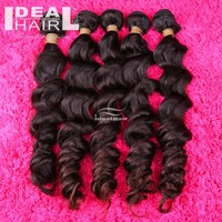Free shipping deep wave raw virgin brazilian human hair extension wefts, 3pcs/lot mixed length natural color and tangle free
