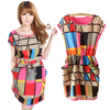 women&#39;s summer new fashion dress sleeveless geometric polka waist free shipping dresses minidress sundres(China (Mainland))