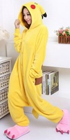 New Adult  Fleece  Animal Pikachu Pajamas Sleepsuit Animal Cosplay Pyjamas Unisex