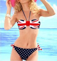 USA/UK Flag Strapless Bikini STARS STRIPES PADDED TWISTED BANDEAU Swim Wear Dropshipping Free Shipping