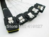 Free Shinnping 2PCS/Lot Mini SAS 4i 36P SFF 8087 to 4SATA 7P With Latch Black Cable 100cm sff-8087 1M Cable