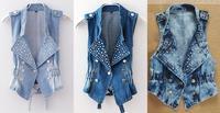 3 Color Sizw  M,L,XL,XXL Women's Denim Vest Punk Studded Cropped Rivet Jeans Waistcoat Top (SKU:J601)