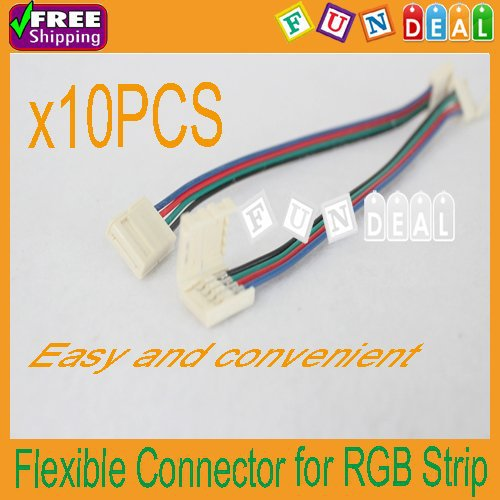 Free shipping! 10PCS 4Pin Flexible Male Connector Cable Wire for 3528/5050 RGB LED SMD Strip Light DIY Factory Wholesale Price(China (Mainland))