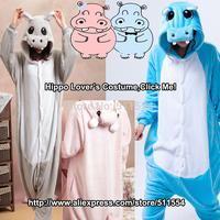Free Shipping One Piece Flannel Fleece Animal Grey Pink Blue grey Hippo Cartoon Adult Cosplay Pajamas Halloween Costume For Sale