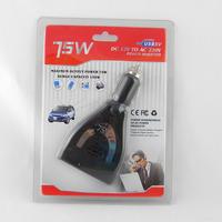 Car inverter charger Power adapter 75W Car Power Inverter Charger DC 12V to AC 220V USB 5V