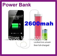 Free Shipping Portable Powerbank 2600mah for Samsung Smartphone,iphone mobile charger,MP3,GPS Emergency Powerbank Women
