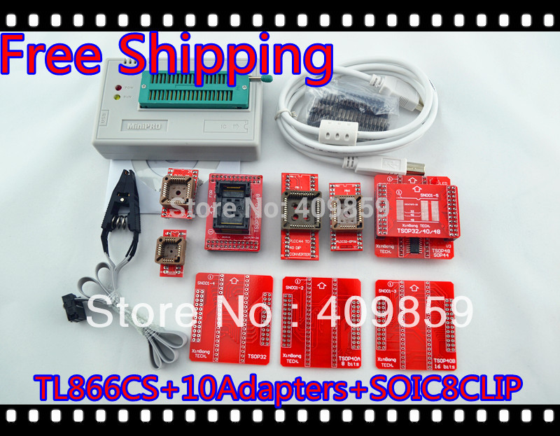 Free Shipping NEW SOIC8 CLIP Hot Sale V6.0 TL866CS High speed PIC USB BIOS MiniPro Universal Programmer+11Adapters+13143 chip(China (Mainland))