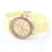 Rose gold Geneva Casual Watch women's dress watches Silicone strap ladies quartz watch fashion wristwatches