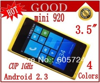 New Leap ahead cheapest mini 920 Android 2.3.5 Smart Phone with 3.5 inch capacitive screen WIFI phone Free shipping