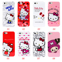 1PCS + Film Retail Cheap Price Plastic Hello Kitty Cartoon Hard Skin Back Case Cover For iPhone 5 iPhone5