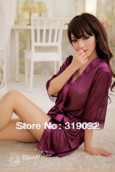 Free Shipping ,Free size Sexy lingerie Hot slik nighty dress,sleepware
