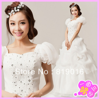 2013 slit neckline wedding dress puff skirt princess puff sleeve plus size wedding dress Free posting 104