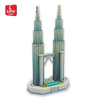 LITU 3D PUZZLE/JIGSAW PUZZLE/EDUCATIONAL/TOYS_landmark/architecture/building_Petronas Towers  Style No.1446