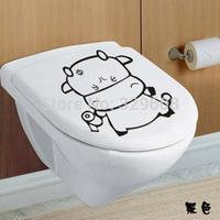 3PCS Of Black Mavericks Funny Cartoon Cute Creative Toilet Stickers Removable Wall Stickers Decor