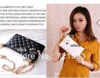 Top Quality 2 colors 2014 small plaid chain bags women messenger bag female day clutch plaid women's handbag evening bag