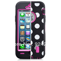 Hot sale Fashionable Polka dots Impact Rugged case for IP 5 (Black)