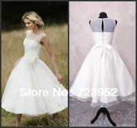 Hot Sale Bateau Neck See through Top Organza Simple Ankle Length Jacqueline Vintage Wedding Dress