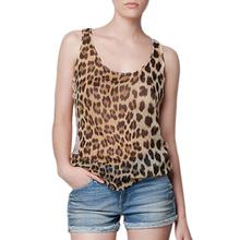 Popular Women Chiffon Lace Patchwork Fashion Leopard Slim Vest Crew Neck Sleeveless Sexy Casual T-shirts Sport Tops WF-4014