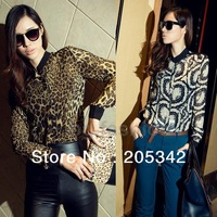 Free Shipping!2013 New Fashionable Joker Loose Collar Euramerican Style Long-Sleeved Leopard Print Chiffon Shirt.JCK000038