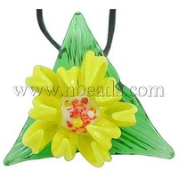 Closeout Handmade Lampwork Pendants,  Colorful,  Flower,  about 45mm wide,  45mm long,  32mm thick,  hole: 6mm