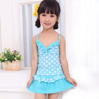 Spa polka dot swimwear child swimwear female child split skirt