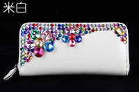 DROP Shipping 2013 Purse With Nice Diamond Ladies Card Wallet  Bright Colourful  Point Drill Ornament  Cheap Wallets 683-1