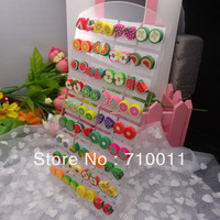 Free Shipping-Wholesale Korea Style Cheap Mixed Colours And Fruit Slice Design Hand-made Polymer Clay Stud Earrings,36pair/card
