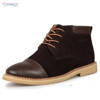 Popular Winter Men Boots Designer Men's Oxfords Ankle Boots Male High Top Warm Shoes With Fur Size 38 - 44 (Black, Blue, Brown)