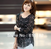 Free Shipping Women's Lady Plus Size 4XL Loose Round Neck Long Sleeve Polka Dot Chiffon Blouses D54