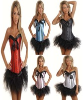 Free Shipping Mini Dress Black/Blue/Pink/Red/White Overbust Bustier Strapless Corset Skirt Set S-XL