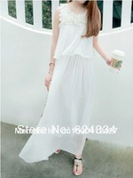NEW 2013 Autumn -Summer Chiffon Dress Women Bohemia Flower Lace Long Dresses White , M, L ,XL