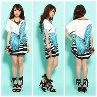 Elegant Blue loose Office Japan Korea Mini T-shirt Dress D182 UK12-16 D0037