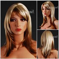 2013 Free shipping european women medium long blonde wig with bangs 100% Kanekalon wigs for sale