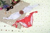Free Shipping Women's Bikini rhinestone Swimsuit diamond Swimwear Bikinis Sexy For Women White Bra + Candy Color Knickers
