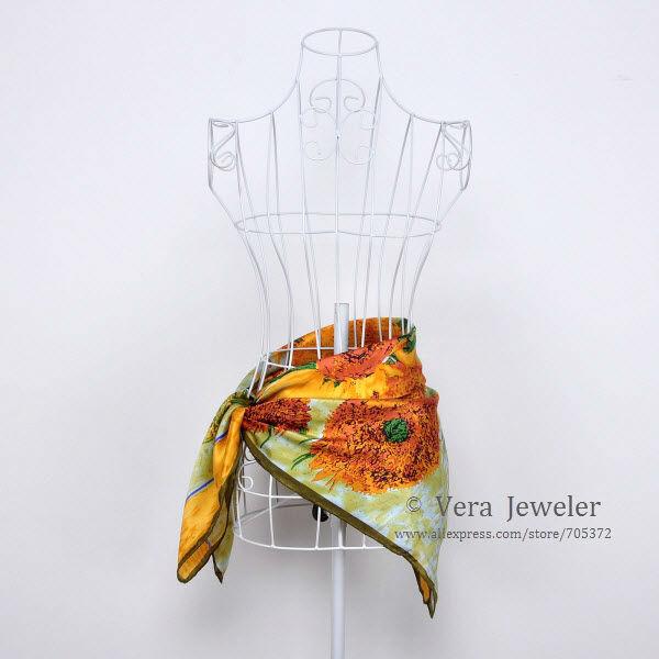 100% Silk Scarf Square Luxurious Charmeuse Satin Silk Shawl to the Head Van Gogh's Sunflower 1889 Women's Fashion Scarf Yellow