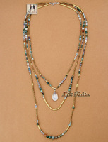 Newest Top Quality Full Handmade Natural India Agate with Seed Beads 3 Layered Necklace Bead Folk Style Necklaces